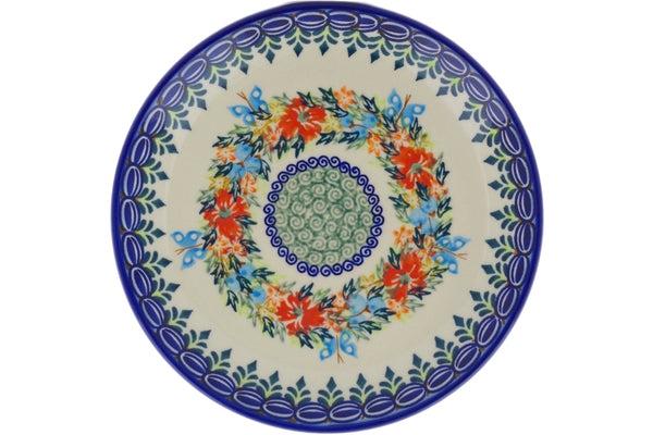 "Polish Pottery 7"" Plate Ring Of Flowers"