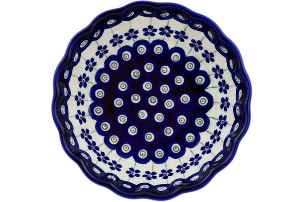 "Polish Pottery 6"" Scalloped Bowl Flowering Peacock"