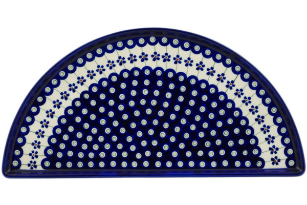 "Polish Pottery 16"" Pizza Plate Flowering Peacock"