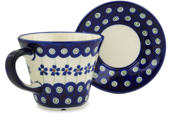 Polish Pottery 8 oz Cup with Saucer Flowering Peacock
