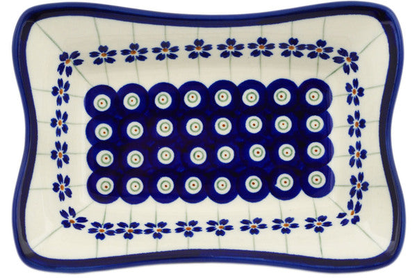 "Polish Pottery 7"" Platter Flowering Peacock"