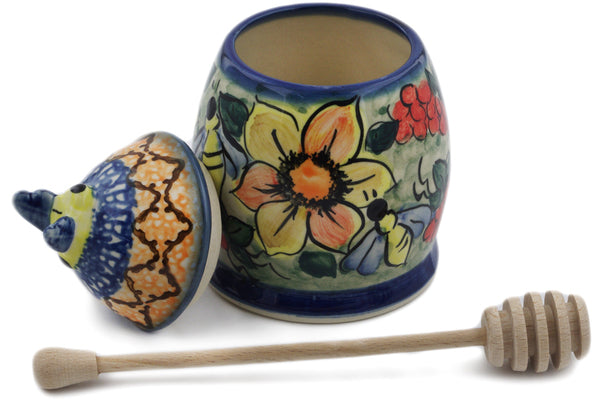 "Polish Pottery 6"" Honey Jar with Dipper Colorful Bouquet UNIKAT"