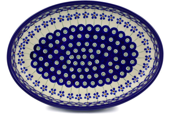 "Polish Pottery 11"" Oval Baker Flowering Peacock"