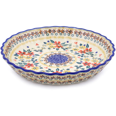 "Polish Pottery 10"" Fluted Pie Dish"