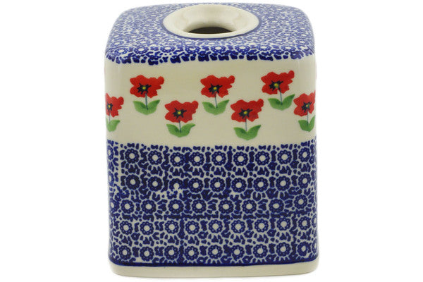 "Polish Pottery 6"" Tissue Box Cover Wind-blown Poppies"
