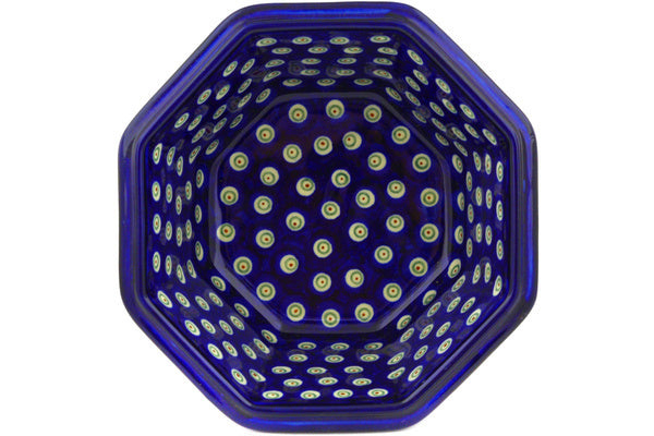 "Polish Pottery 7"" Octagonal Bowl Flowering Peacock"