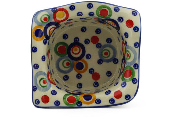 "Polish Pottery 6"" Square Bowl Bubble Machine UNIKAT"
