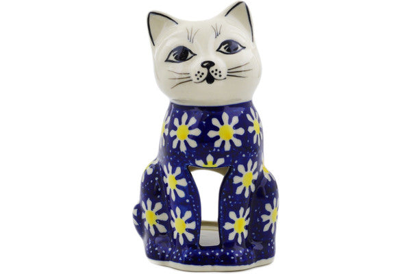 "Polish Pottery 6"" Candle Holder Daisy"