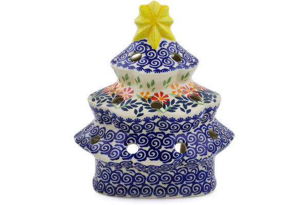 "Polish Pottery 7"" Christmas Tree Candle Holder Wave Of Flowers"
