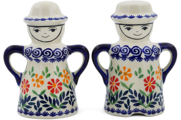 "Polish Pottery 5"" Salt and Pepper Set Wave Of Flowers"