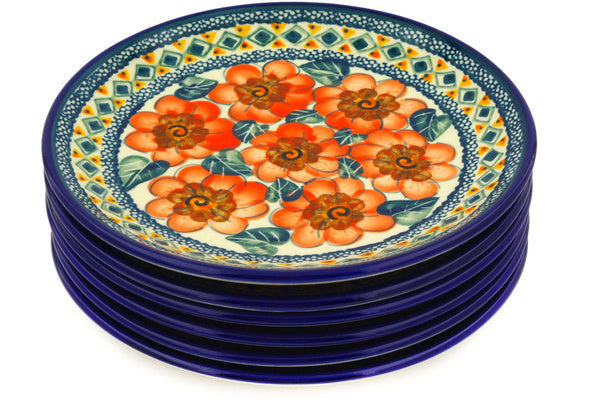 "Polish Pottery 7"" Set of 6 Plates Peach Poppies UNIKAT"