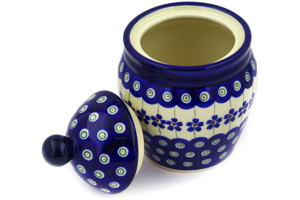 "Polish Pottery 6"" Jar with Lid Flowering Peacock"