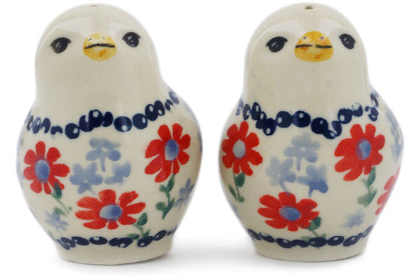"Polish Pottery 2"" Salt and Pepper Set Full Blossom"