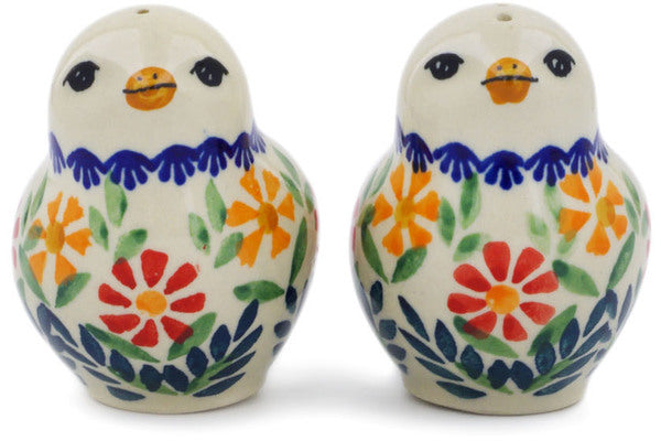 "Polish Pottery 2"" Salt and Pepper Set Wave Of Flowers"
