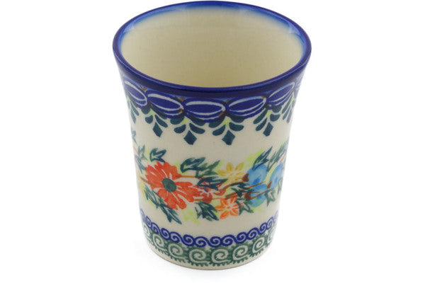 Polish Pottery 5 oz Tumbler Ring Of Flowers UNIKAT
