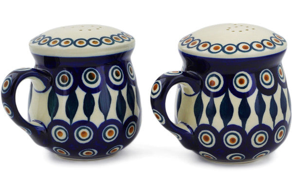 "Polish Pottery 4"" Salt and Pepper Set Peacock"