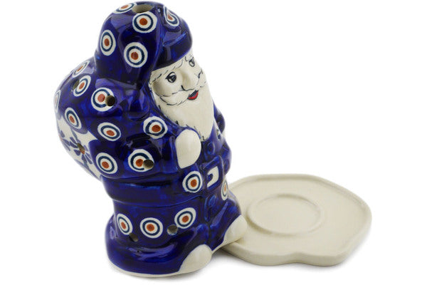 "Polish Pottery 6"" Santa Candle Holder Peacock"
