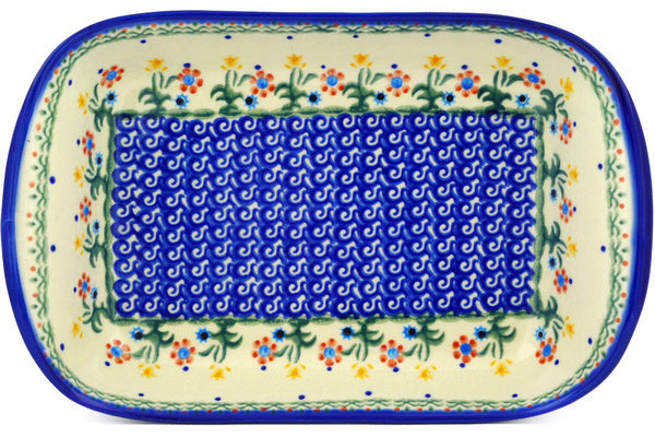 "Polish Pottery 11"" Platter with Handles Spring Flowers"