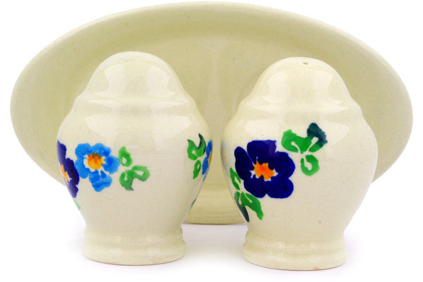 "Polish Pottery 7"" Salt and Pepper Set Blue Delight"