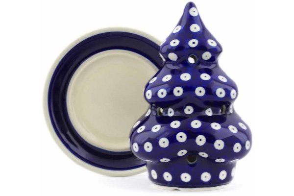 "Polish Pottery 7"" Christmas Tree Candle Holder Blue Eyes"