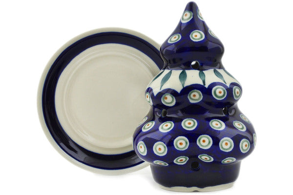 "Polish Pottery 7"" Christmas Tree Candle Holder Peacock Leaves"