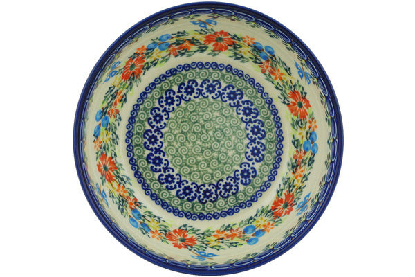 "Polish Pottery 7"" Bowl Ring Of Flowers UNIKAT"