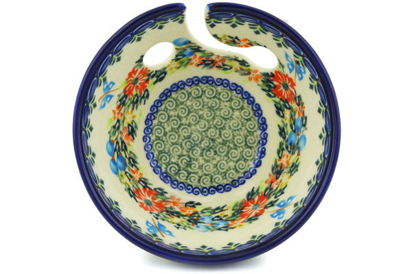 "Polish Pottery 6"" Yarn Bowl Ring Of Flowers UNIKAT"