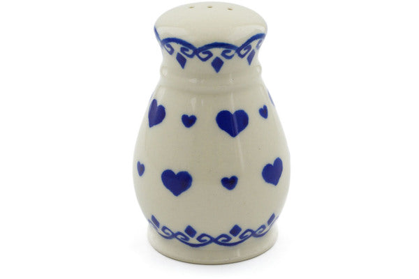 "Polish Pottery 3"" Pepper Shaker Blue Valentine"