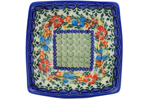 "Polish Pottery 5"" Square Bowl Ring Of Flowers UNIKAT"