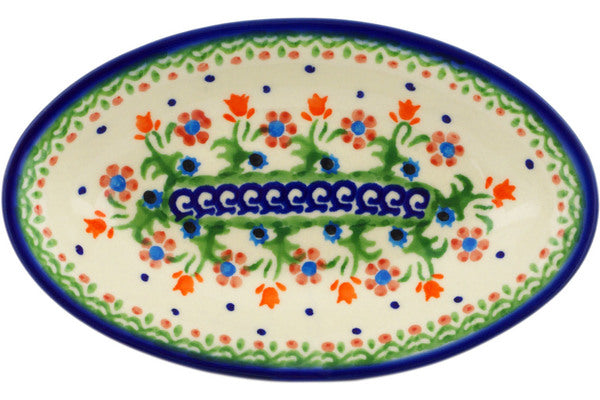 "Polish Pottery 7"" Condiment Dish Spring Flowers"