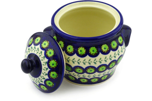 "Polish Pottery 6"" Jar with Lid and Handles Green Laurel Peacock"