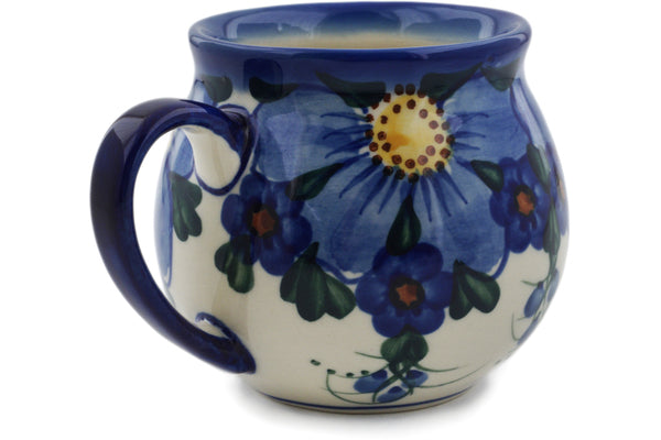 Polish Pottery 12 oz Bubble Mug Himalayan Blue Poppy UNIKAT