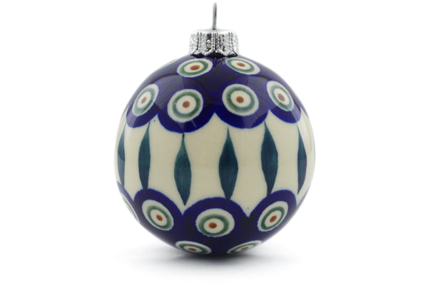 "Polish Pottery 3"" Ornament Christmas Ball Peacock Leaves"