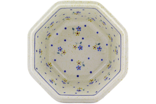"Polish Pottery 7"" Octagonal Bowl Country Meadow"