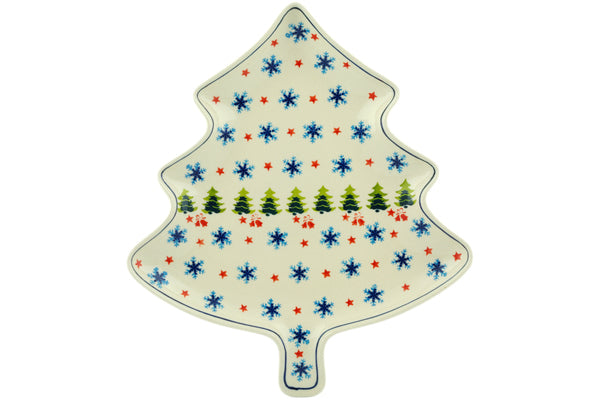 "Polish Pottery 12"" Platter Winter Land"