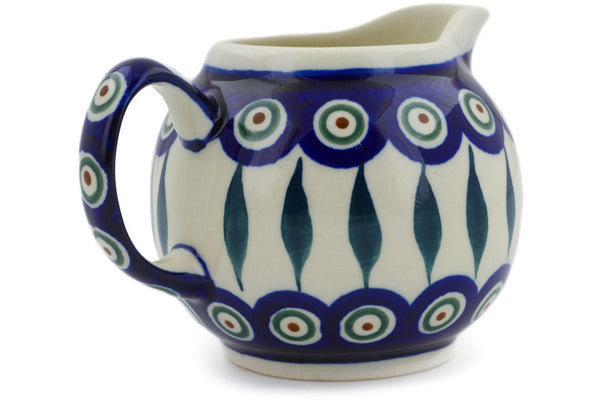 Polish Pottery 10 oz Creamer Peacock Leaves