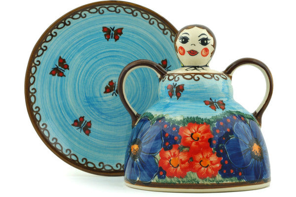 "Polish Pottery 6"" Cheese Lady Field Of Butterflies UNIKAT"