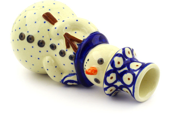 "Polish Pottery 6"" Snowman Candle Holder Red Eyed Peacock"