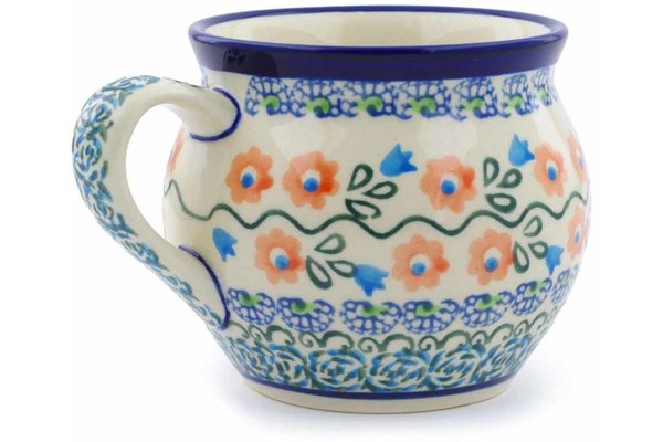 Polish Pottery 12 oz Bubble Mug Tulip Vines