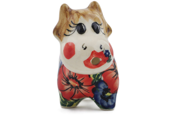 Polish Pottery 2 oz Cow Shaped Creamer Red Star UNIKAT