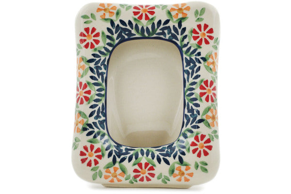 "Polish Pottery 6"" Picture Frame Wave Of Flowers"