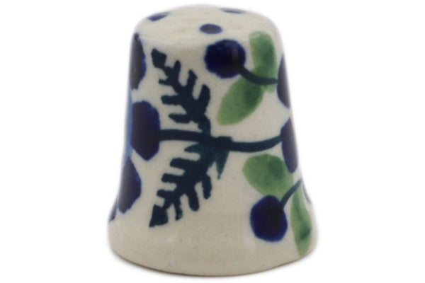 "Polish Pottery 1"" Thimble Orange And Blue Flower"