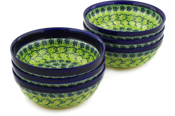 "Polish Pottery 7"" Set of 6 Bowls Emerald Forest"