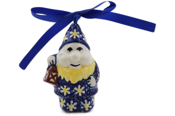 "Polish Pottery 4"" Gnome Ornament Daisy"
