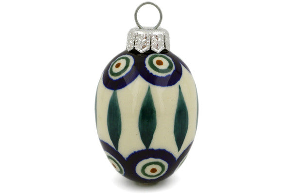 "Polish Pottery 3"" Ornament Egg Peacock Leaves"
