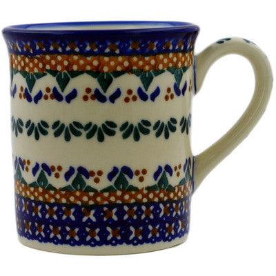 Polish Pottery 8 oz Mug Blue Cress UNIKAT