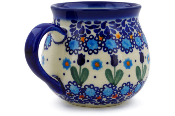 Polish Pottery 10 oz Bubble Mug Blue Tulip Garden UNIKAT