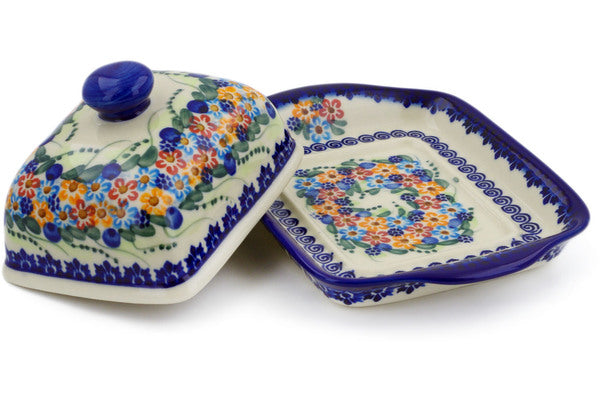 "Polish Pottery 7"" Butter Dish Starburst Garland UNIKAT"
