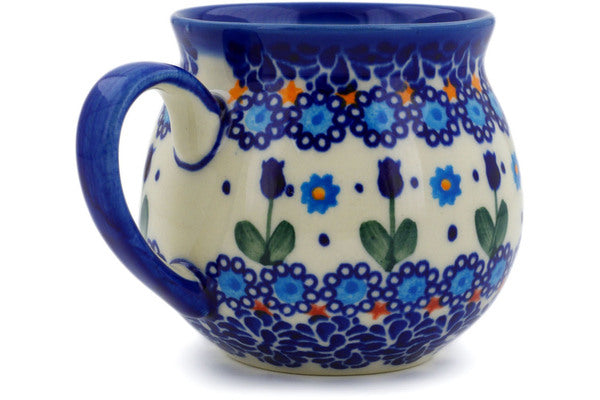 Polish Pottery 12 oz Bubble Mug Blue Tulip Garden UNIKAT