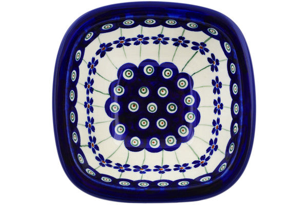 "Polish Pottery 5"" Square Bowl Flowering Peacock"
